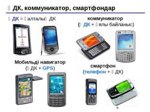 ҚДК, коммуникатор, смартфондар Мобильді навигатор (ҚДК + GPS) ҚДК = қалталық