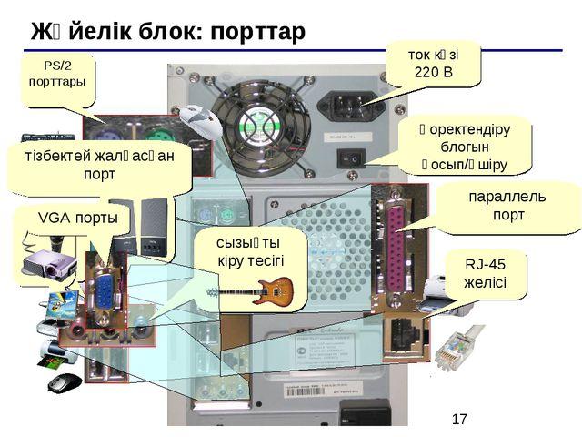Жүйелік блок: порттар Қоректендіру блогын қосып/өшіру ток көзі 220 В