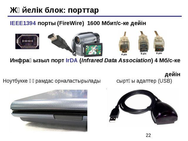 Жүйелік блок: порттар IEEE1394 порты (FireWire) 1600 Мбит/c-ке дейін Инфрақыз...