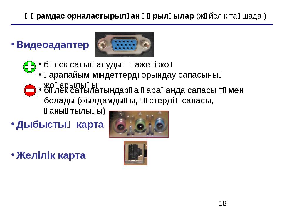 Құрамдас орналастырылған құрылғылар (жүйелік тақшада ) Видеоадаптер Дыбыстық...