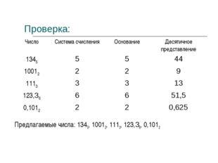 Проверка:  Предлагаемые числа: 1345, 10012, 1113, 123,36, 0,1012 ЧислоСист