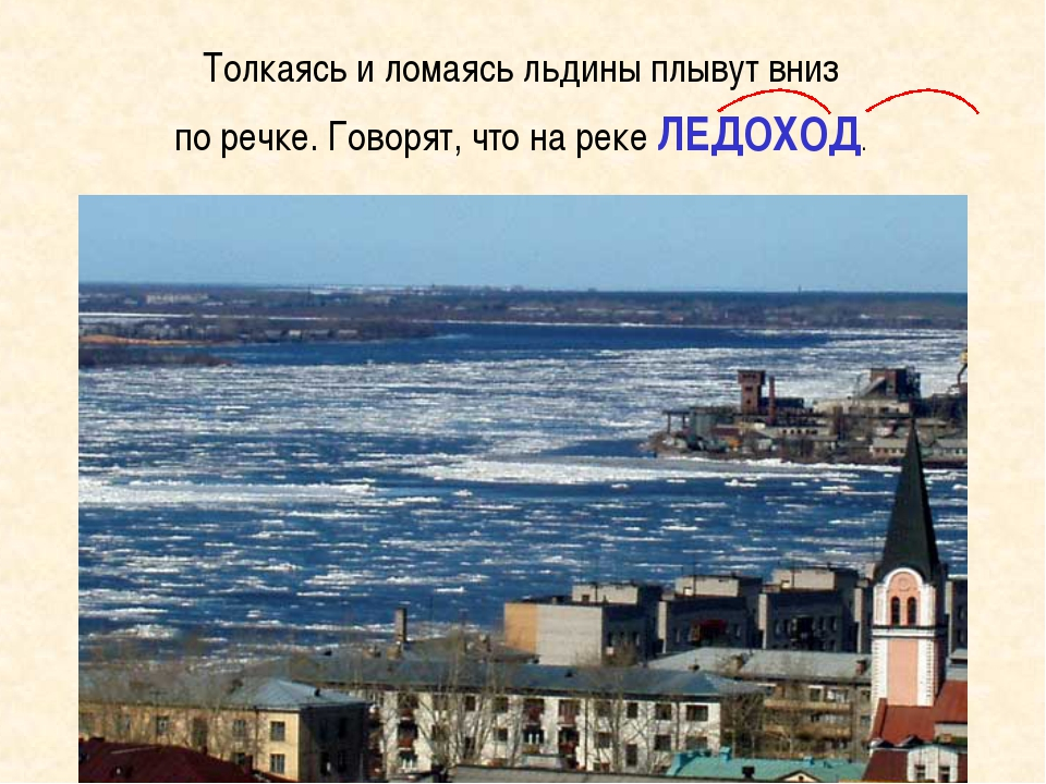 Толкаясь и ломаясь льдины плывут вниз по речке. Говорят, что на реке ЛЕДОХОД.