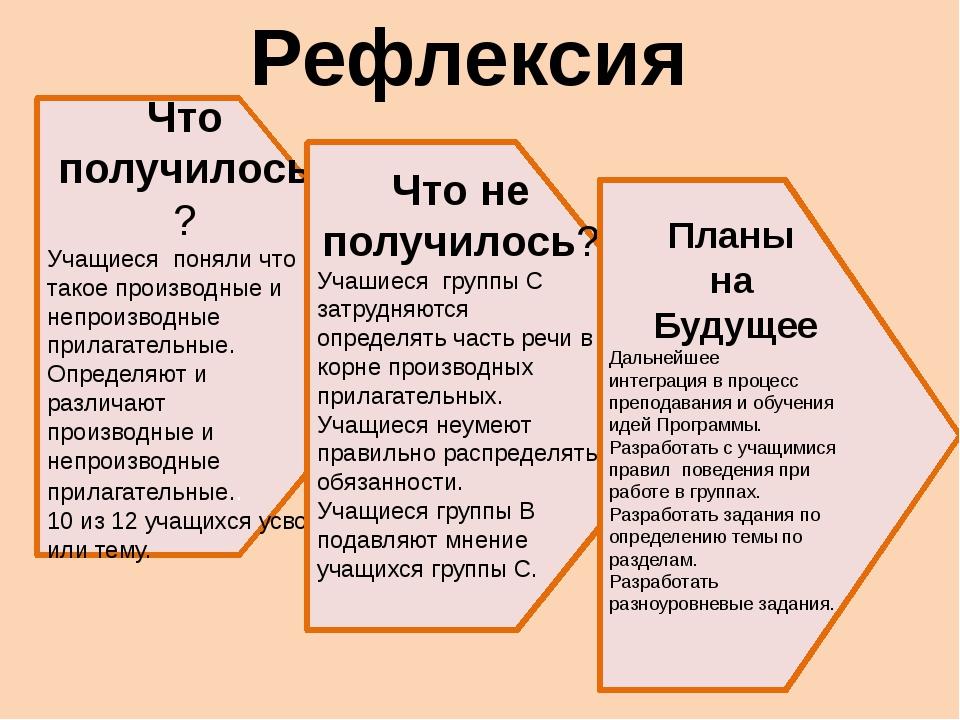 Рефлексия Что получилось? Учащиеся поняли что такое производные и непроизводн...