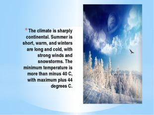 The climate is sharply continental. Summer is short, warm, and winters are lo