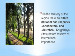 On the territory of the region there are State national natural parks «Kokshe