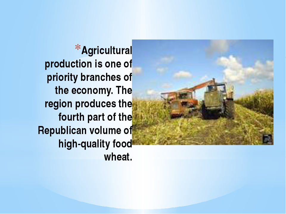 Agricultural production is one of priority branches of the economy. The regio...