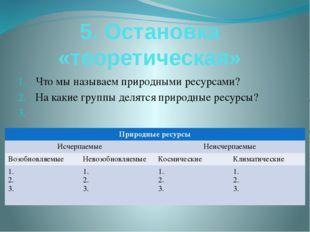 5. Остановка «теоретическая» Что мы называем природными ресурсами? На какие г