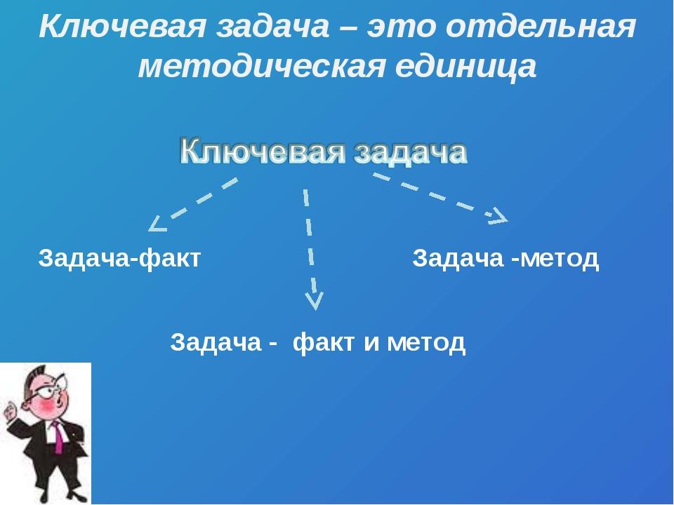 Задача-факт Задача -метод Задача - факт и метод Ключевая задача – это отдельн...