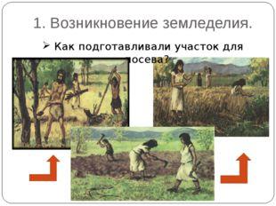 1. Возникновение земледелия. Как подготавливали участок для посева?