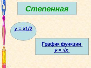 Степенная График функции y= √x y = x1/2