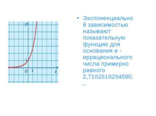Экспоненциальной зависимостью называют показательную функцию для основанияe