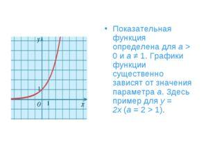 Показательная функция определена дляa> 0 иa≠ 1. Графики функции существен