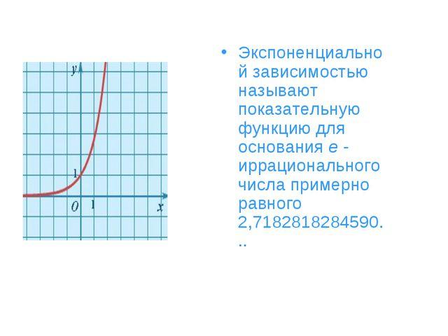 Экспоненциальной зависимостью называют показательную функцию для основанияe...