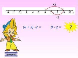 (6 + 3) -2 = 9 - 2 = Проверка(2) +3 -2 7 0 1 2 3 4 5 6 7 8 9 10 х