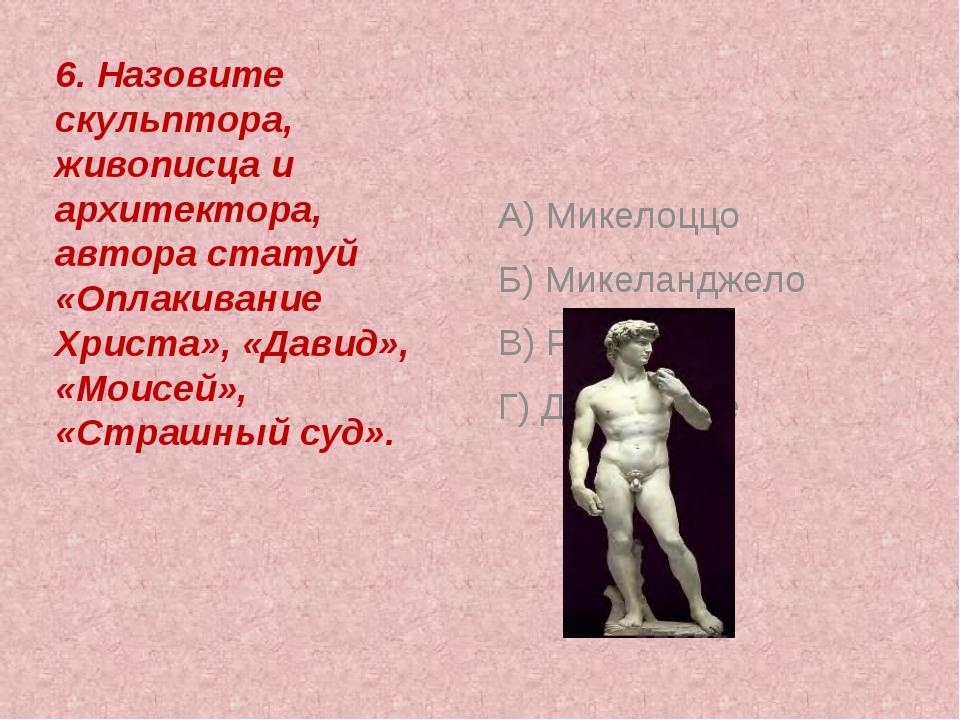 6. Назовите скульптора, живописца и архитектора, автора статуй «Оплакивание...