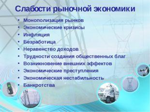 Слабости рыночной экономики Монополизация рынков Экономические кризисы Инфляц