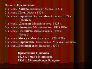 Часть 1. Предисловие 1-я песнь Хандра. Кишинев, Одесса. 1823 г. 2-я песнь. По