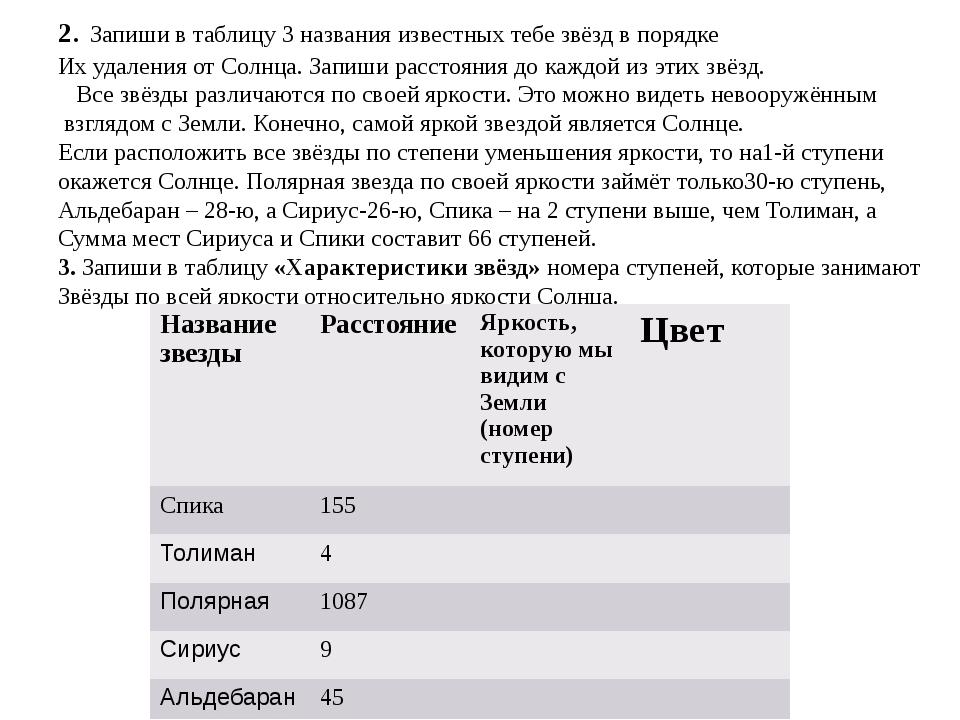2. Запиши в таблицу 3 названия известных тебе звёзд в порядке Их удаления от...