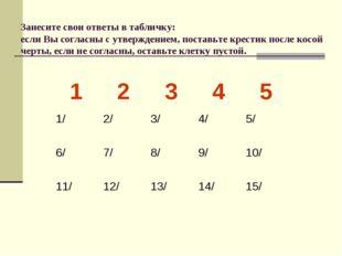 Занесите свои ответы в табличку: если Вы согласны с утверждением, поставьте к