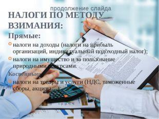 НАЛОГИ ПО МЕТОДУ ВЗИМАНИЯ: Прямые: налоги на доходы (налоги на прибыль органи