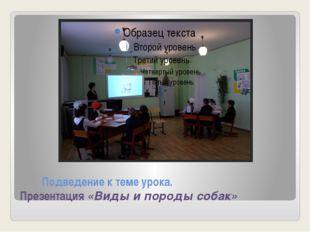 Подведение к теме урока. Презентация «Виды и породы собак»