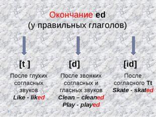 Окончание ed (у правильных глаголов) [t ] [d] [id] После глухих согласных зву
