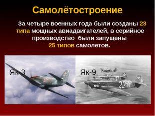 Самолётостроение За четыре военных года были созданы 23 типа мощных авиадвига