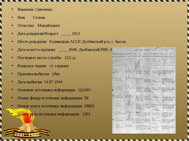 Фамилия Синченко Имя Степан Отчество Михайлович Дата рождения/Возраст __.__.1...