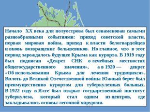 Начало ХХвека для полуострова был ознаменован самыми разнообразными событиям