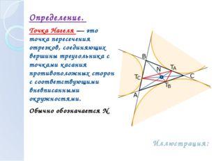 Определение. Точка Нагеля — это точка пересечения отрезков, соединяющих верш