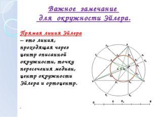 Прямая линия Эйлера – это линия, проходящая через центр описанной окружности