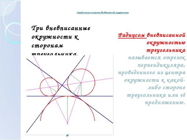 Определение элемента вневписанной окружности. Три вневписанные окружности к...