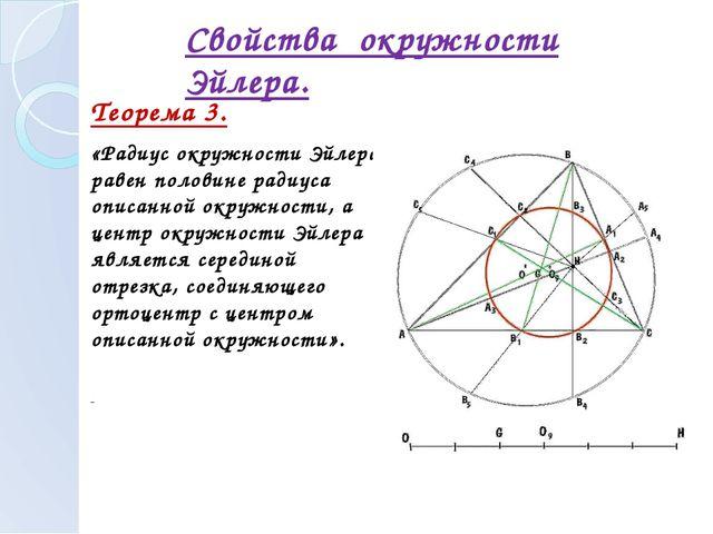 Теорема 3. «Радиус окружности Эйлера равен половине радиуса описанной окружн...