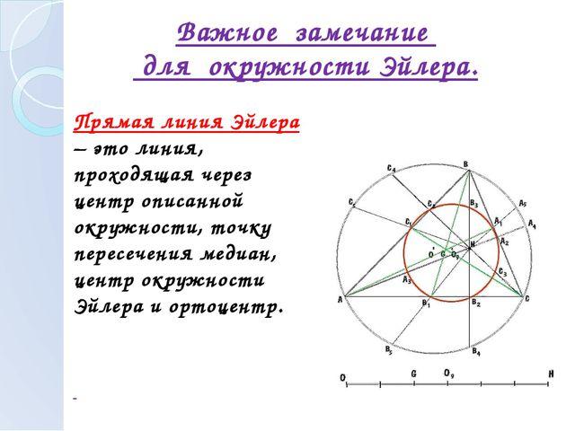 Прямая линия Эйлера – это линия, проходящая через центр описанной окружности...