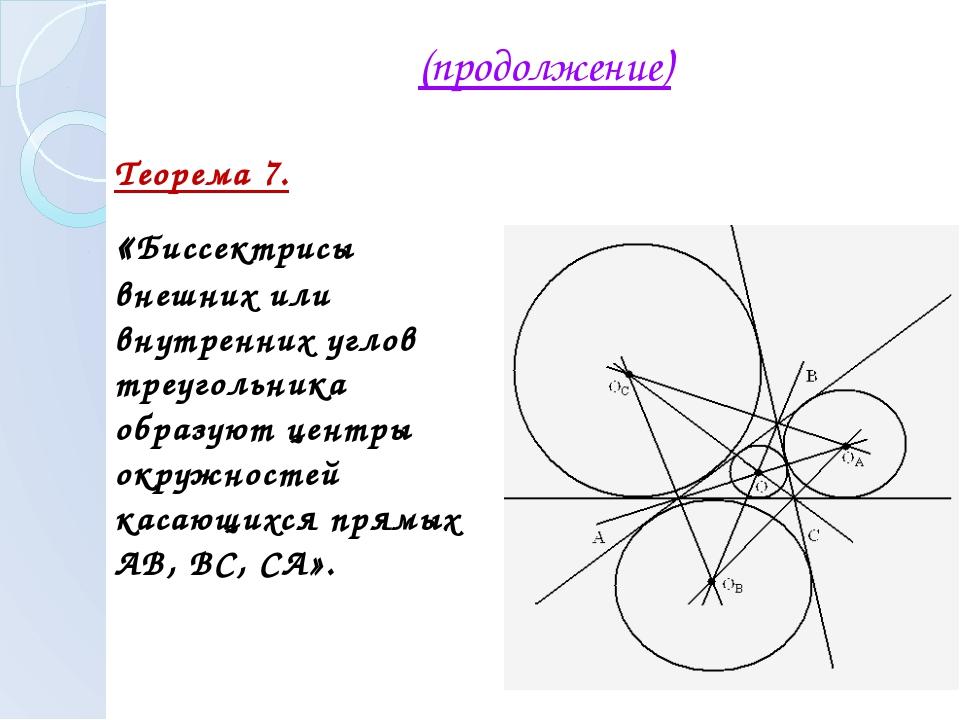 (продолжение) Теорема 7. «Биссектрисы внешних или внутренних углов треугольни...