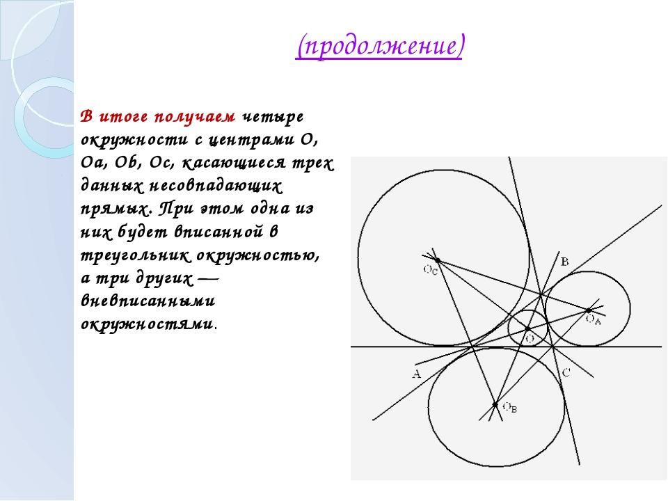 (продолжение) В итоге получаем четыре окружности с центрами О, Оа, Ob, Oc, ка...
