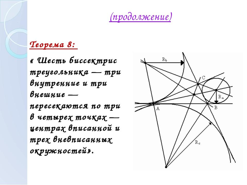 (продолжение) Теорема 8: « Шесть биссектрис треугольника — три внутренние и т...