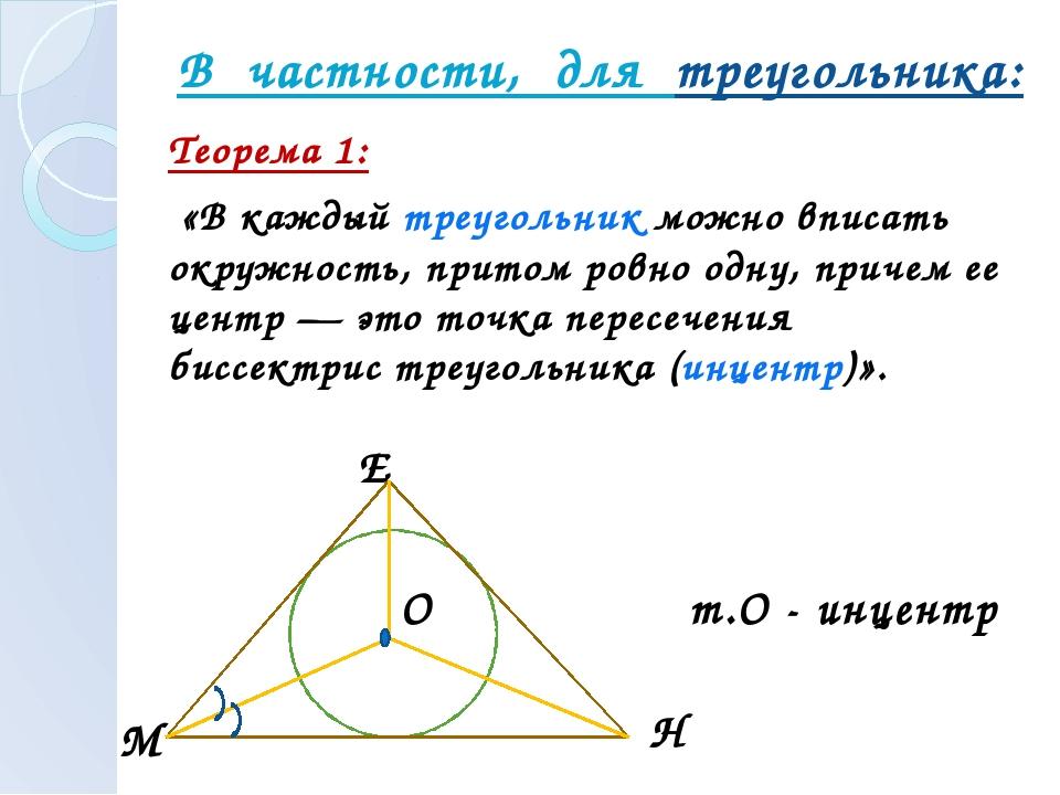 В частности, для треугольника: Теорема 1: «В каждый треугольник можно вписат...