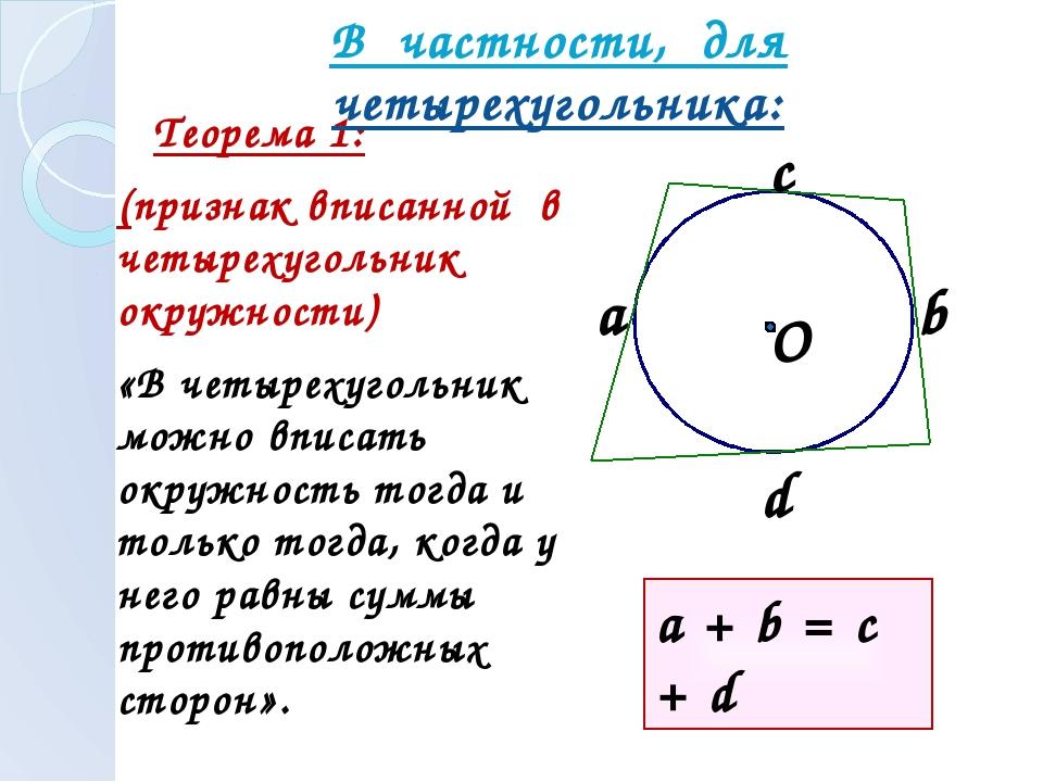 Теорема 1: (признак вписанной в четырехугольник окружности) «В четырехугольн...