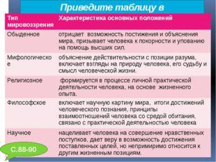 Приведите таблицу в соответствие: С.88-90 Тип мировоззрения Характеристикаосн