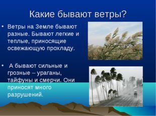 Какие бывают ветры? Ветры на Земле бывают разные. Бывают легкие и теплые, при