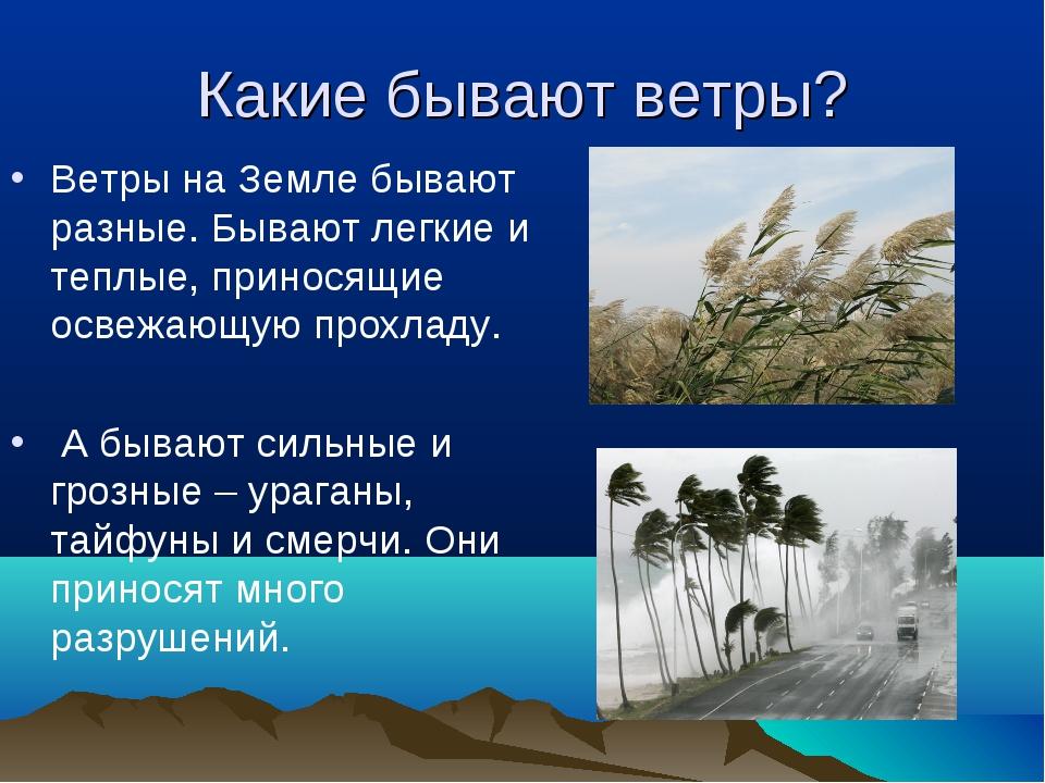 Какие бывают ветры? Ветры на Земле бывают разные. Бывают легкие и теплые, при...