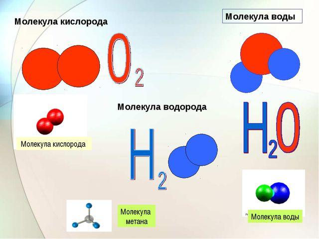 Молекула воды Молекула воды Молекула метана Молекула кислорода