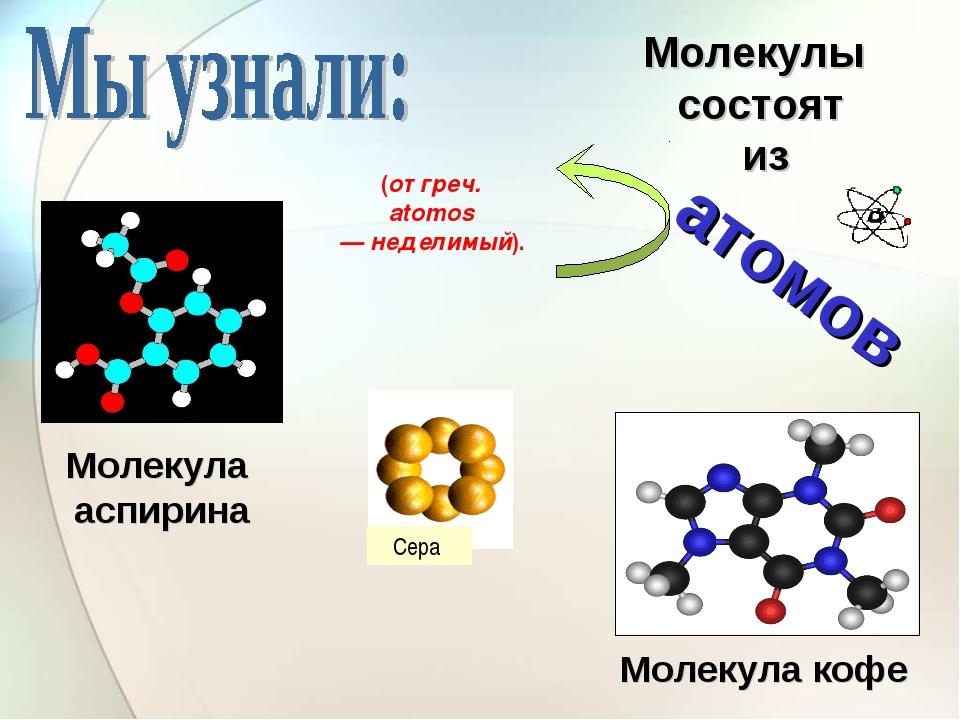 Молекула кофе Молекула аспирина Сера Молекулы состоят из атомов (от греч. ato...