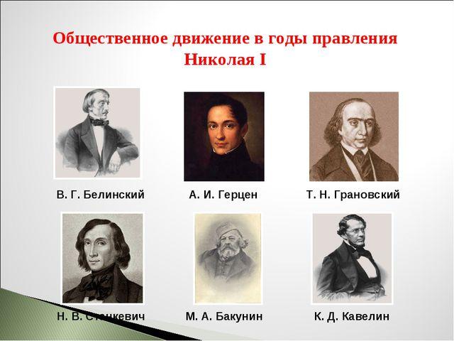 Общественное движение в годы правления Николая I В.Г.Белинский А.И.Герцен...