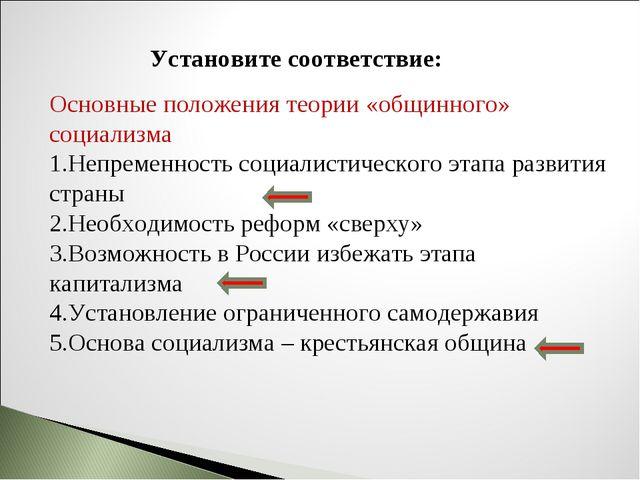 Установите соответствие: Основные положения теории «общинного» социализма Неп...