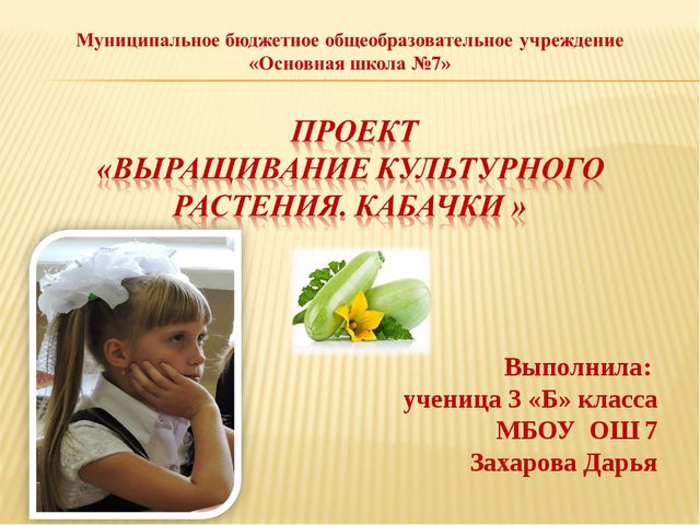 Выполнила: ученица 3 «Б» класса МБОУ ОШ 7 Захарова Дарья