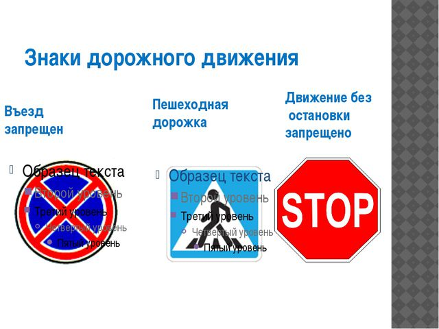 Знаки дорожного движения Въезд запрещен Пешеходная дорожка Движение без остан...