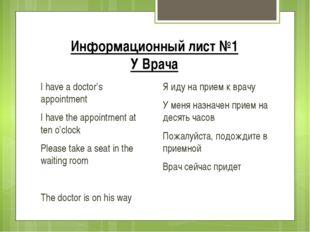 Информационный лист №1 У Врача I have a doctor's appointment I have the appoi