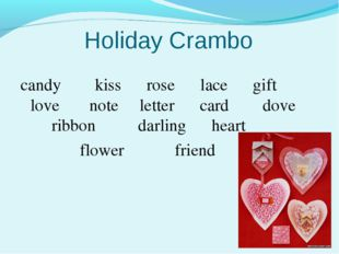 Holiday Crambo candy kiss rose lace gift love note letter card dove ribbon da